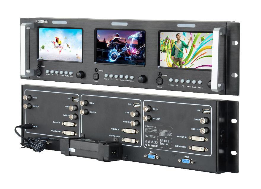 MONITOR RACK RMS5533-3S 3U TRIPLE LCD MONITORS (Composite/DVI/VGA/HDMI/SDI)_0